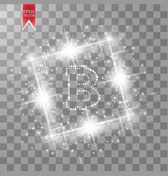 Digital bitcoins symbol with light sqare effect on vector