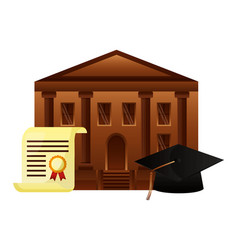 diploma graduation with hat and school building vector image