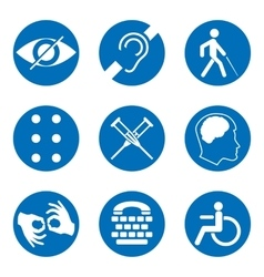 Disabled signs with deaf dumb mute blind vector