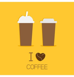Disposable coffee paper cups icon I love coffee vector image