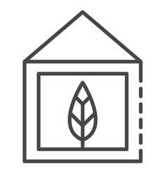 eco leaf house icon outline style vector image