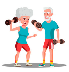 elderly couple doing sports with dumbbells vector image