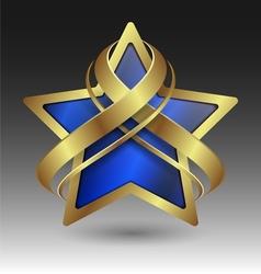Elegant metallic star emblem with embellishment vector