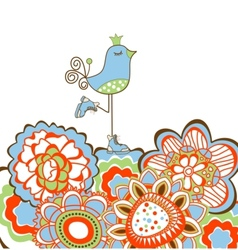 Flowers and bird decoration vector image