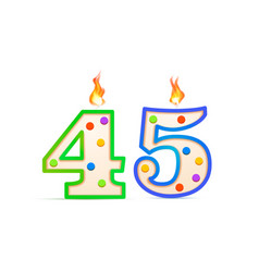 forty five years anniversary 45 number shaped vector image