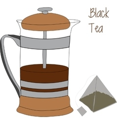 French press and tea bag 2d vector