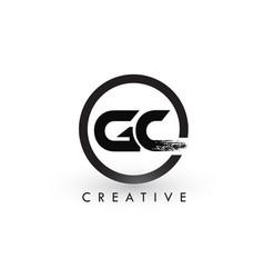 Gc brush letter logo design creative brushed vector