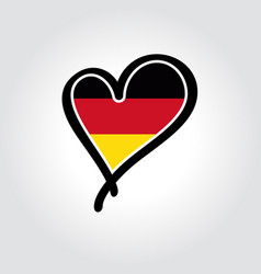 german flag heart-shaped hand drawn logo vector image