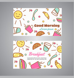 Good morning text breakfast slogan cafe bakery vector