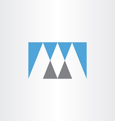 Gray blue logo m letter m icon vector