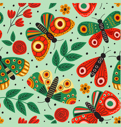 green seamless pattern with butterflies and flower vector image