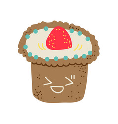 happy cute delicious muffin cartoon character vector image