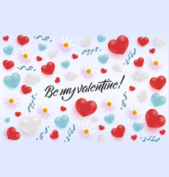 happy valentine day greeting banner with realistic vector image
