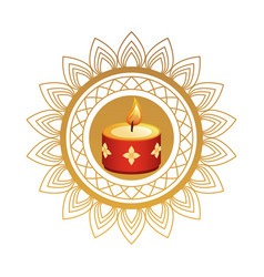 hindu religion candle red with golden flowers vector image