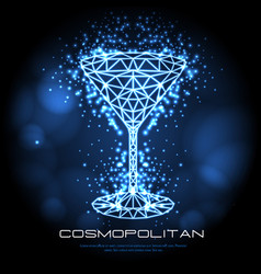 hipster polygonal cocktail cosmopolitan neon sign vector image