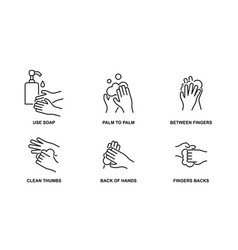 How to wash your hands properly line icons vector