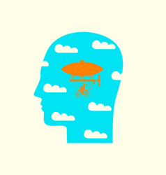 Human head in profile with clouds and airship vector