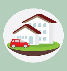 Icon dream luxury house and car business concept vector