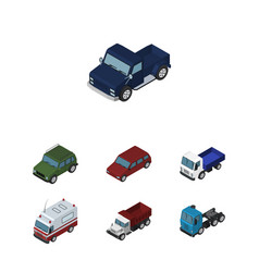 Isometric car set of truck first-aid suv and vector