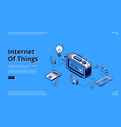 Landing page iot technology smart home vector