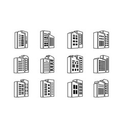 line perspective black company icons and vector image