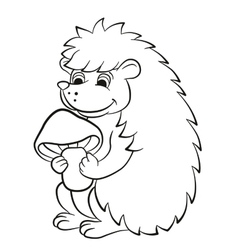 Little cute hedgehog holds the mushroom in the vector