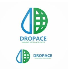 Logo earth globe with drop of water vector