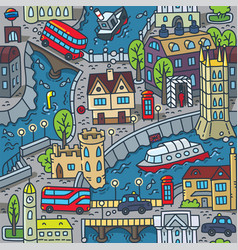 London city seamless pattern roads houses river vector