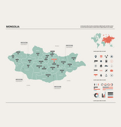 Map mongolia country map with division cities vector