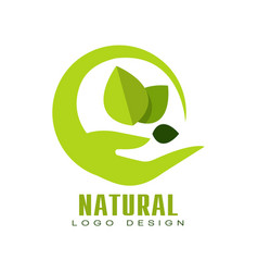 natural logo design eco premium quality label vector image