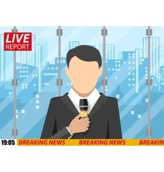 News reporter men with microphone office building vector