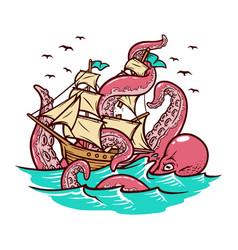 octopus attacks sailing ship vector image