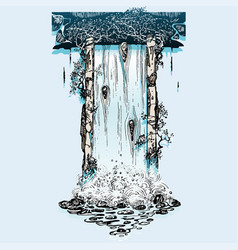 Old ruins waterfall vector