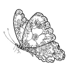Ornamental floral butterfly vector