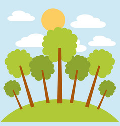 park trees sun and cloud sky day landscape vector image