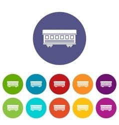 Passenger train car set icons vector image