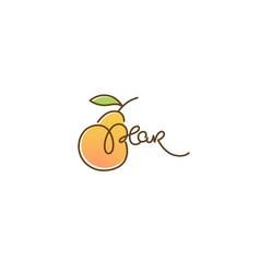Pear flavor doodle logo label emblem vector