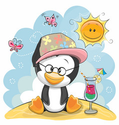Penguin on the beach vector