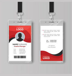 Professional identity card template with red vector