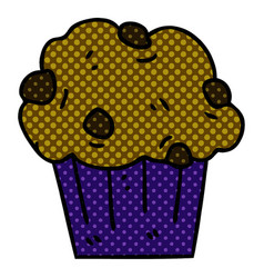 quirky comic book style cartoon chocolate muffin vector image