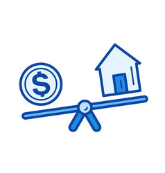 Real estate loan line icon vector