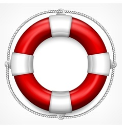 Red life buoy on white vector image