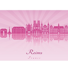 reims skyline in purple radiant orchid vector image