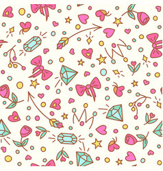 roses and diamond seamless pattern vector image