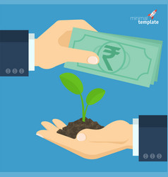 rupee for growing sprout vector image