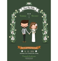 Rustic hipster cartoon couple wedding card vector image