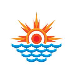 san and sea - logo template concept vector image