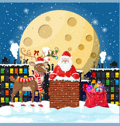 Santa claus with bag with gifts in house chimney vector