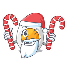 Santa with candy freshly boiled egg isolated on vector