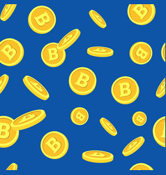 Seamless pattern with bitcoins falling down on vector